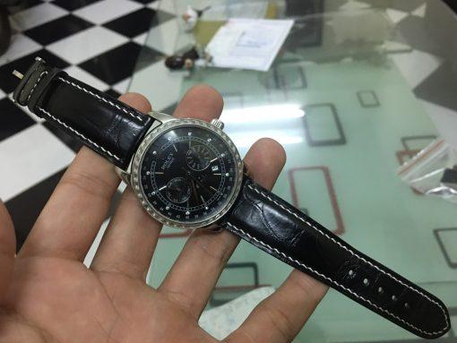 dây da đồng hồ rolex đen chỉ trắng