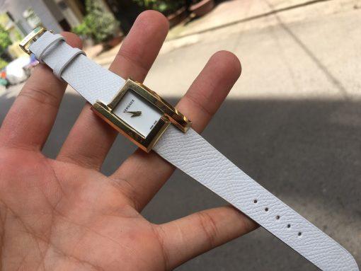 Dây da đồng hồ Versace màu trắng