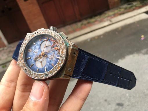 dây da đồng hồ hublot màu xanh